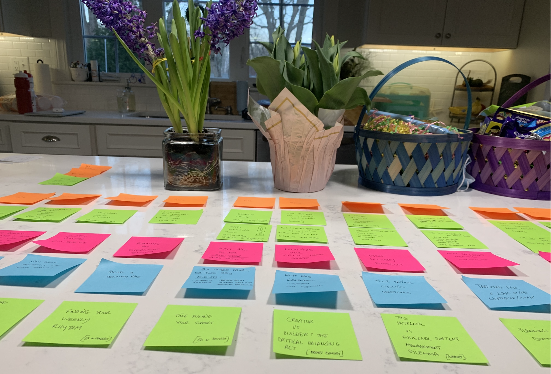 Post It Organizer Image on Kitchen Counter (With Easter stuff in the background).