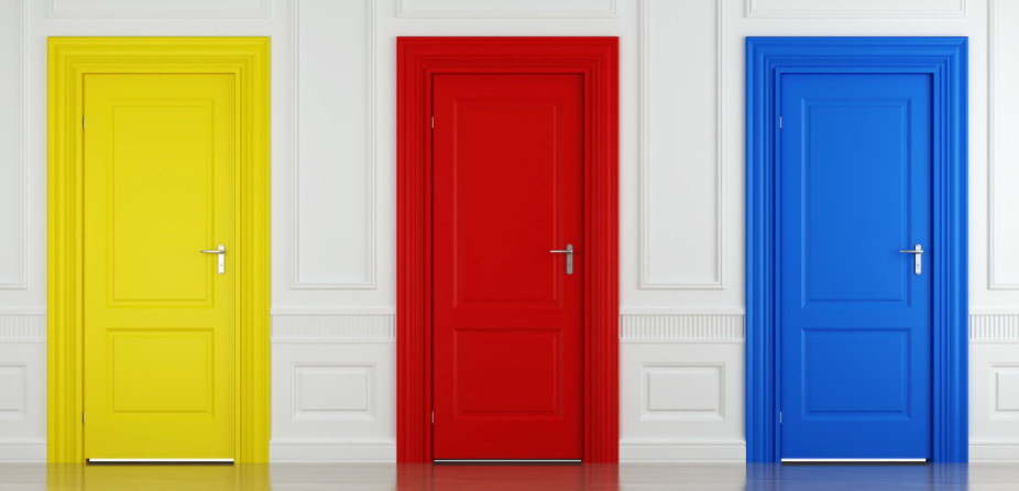 Image of three doors to choose from.